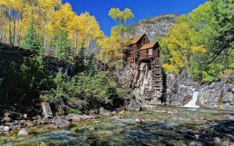 Mountain River Cabins by Riverside Mountain Cabin Wallpaper