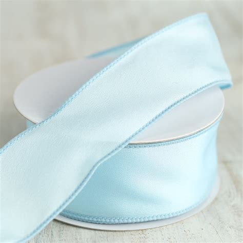 Light Blue Satin Wired Ribbon   Ribbon and Trims   Craft