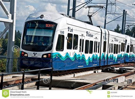 seattle link light rail transport 3rd year editorial image