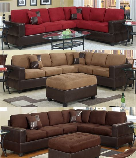 Living Rooms With Sectional Sofas Sectional Sofa Furniture Microfiber Sectional 2 Pc Living Room Set 3 Color Ebay