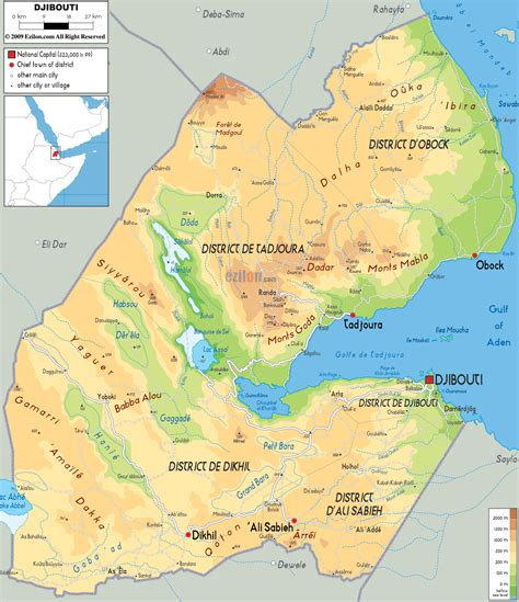physical map  djibouti ezilon maps