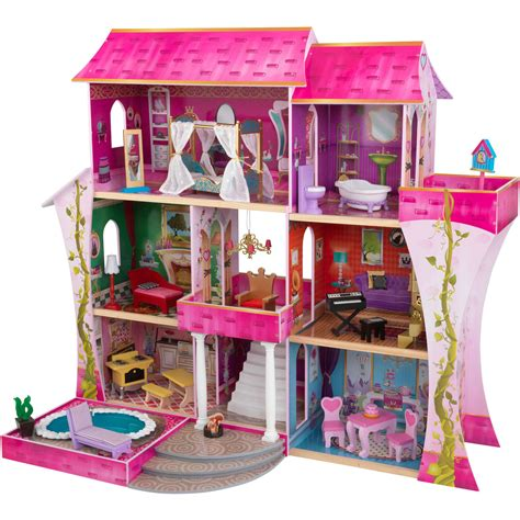 kidkraft doll house furniture kidkraft sparkle wooden dollhouse with 30 pieces of furniture walmart com