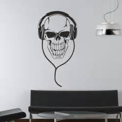 Wall Art Decal Stickers Skull With Headphones Music Dj Wall Stickers Art Decals