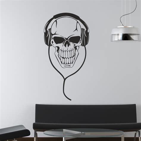 skull with headphones music dj wall stickers art decals