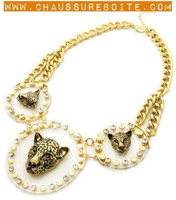 Gamis Leopard Gold leopard acrylic gold chain necklace set on storenvy