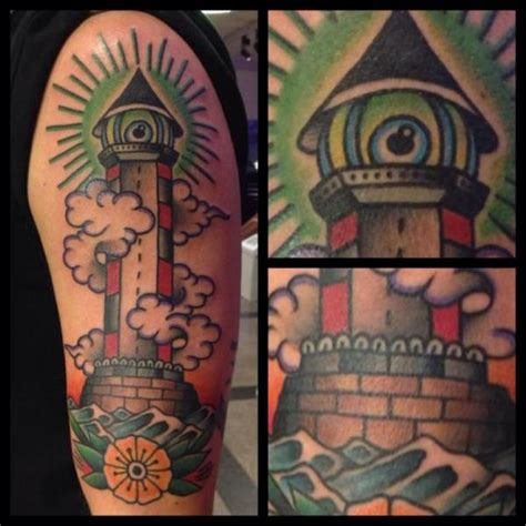 new school lighthouse tattoo shoulder new school lighthouse tattoo by filip henningsson