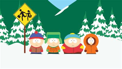 south park stan kyle cartman and kenny at the bus stop