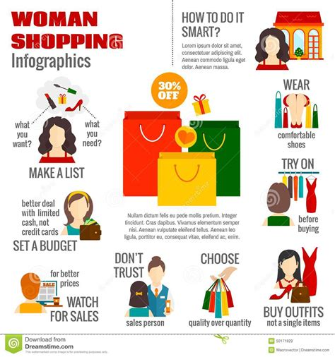 woman shopping infographic stock vector image