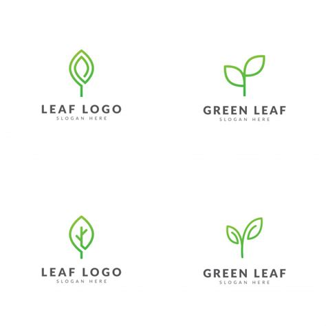 set  green leaf logo template vector design vector