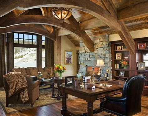 rustic decorations for homes love the arches and stone open country rustic home office
