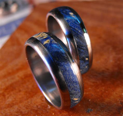 Titanium Wedding Band Set  Blue Box Elder Wood Inlay Rings