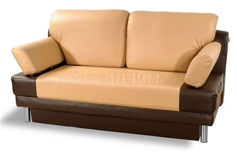 Vinyl Leather Sofa Two Toned Vinyl Leather Contemporary Sofa Bed