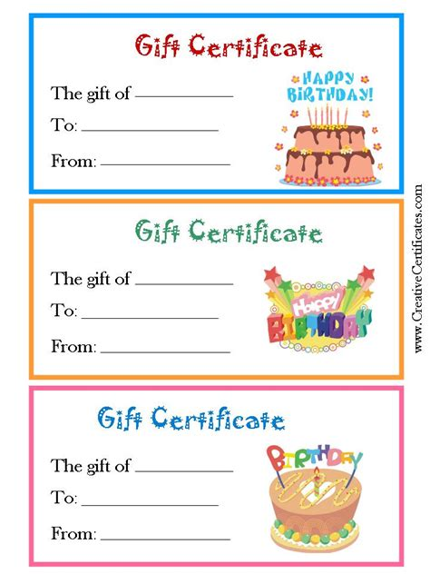 birthday gift card template certificate templates