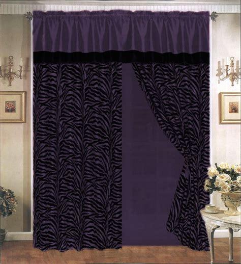 zebra pattern curtains 4 pieces satin purple black flocking zebra pattern window