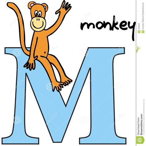 words of alphabet m mustaches and monkey free alphabet illustrated alphabet letter m and monkey cartoon vector