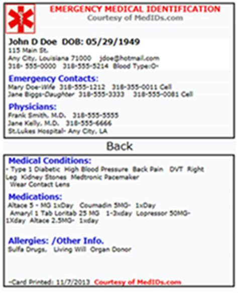 alert wallet card template your portable information kit patients with