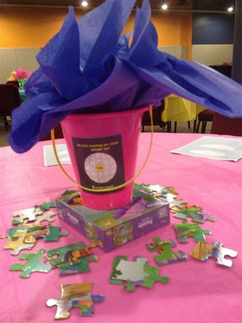 volunteer appreciation dinner centerpieces puzzle piece volunteer appreciation event just b cause