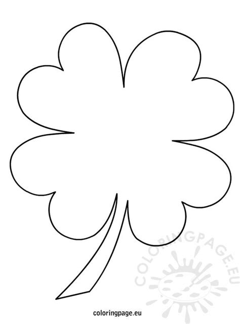 4 Leaf Clover Coloring Page Four Leaf Clover Color Page