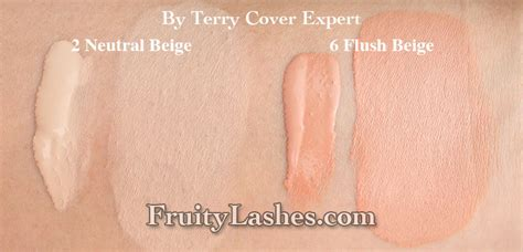 by terry foundation color swatches by terry sheer expert and cover expert foundation review