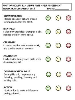 unit of inquiry self assessment reflection sheet by ib pyp