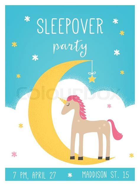 moon invitation card template moon and unicorn pajama sleepover invitation