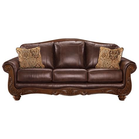 Traditional Leather Sectional Sofa Signature Design By Mellwood Traditional Leather Match Sofa Miskelly Furniture Sofas