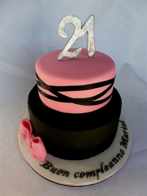 Black And Pink Birthday Cake | pink and black 21st birthday cake cakecentral com