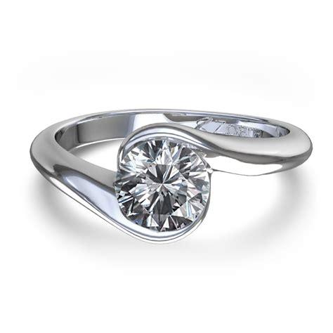 half bezel engagement ring in 14k white gold canada