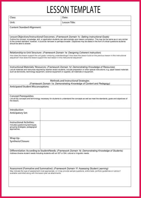 template for lesson plans sle lesson plan template sop exles
