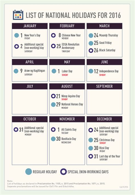 Calendar Of National Holidays Infographic Official List Of 2016 Philippine Holidays