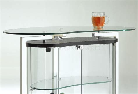 Contemporary Bar Table Clear Glass Contemporary Bar Table W Cromed Metal Frame
