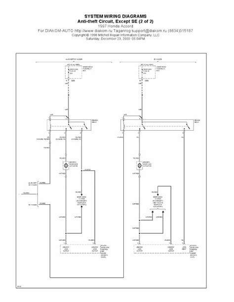 1997 honda accord anti theft circuit se system wiring 1997 honda accord anti theft circuit system wiring
