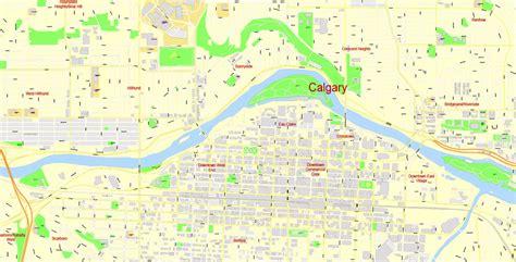 calgary city map streets calgary city large area editable pdf map canada exact