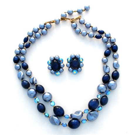 bead set blue bead set necklace and earrings lucite beaded blue