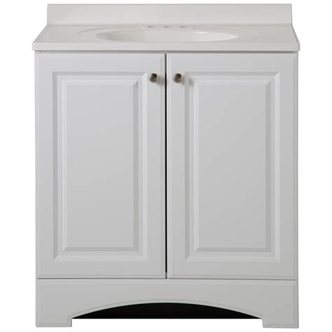 White Marble Vanity Top by Glacier Bay 30 1 2 In W Vanity In White With Cultured