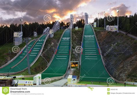 design of ski jump hill ski jumping hill stock photo image 34545140