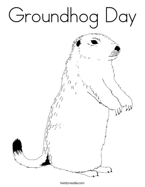 Groundhog Day Coloring Page Twisty Noodle Groundhog Day Coloring Page