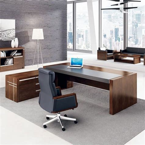 high gloss ceo office furniture luxury office table executive desk leather top project