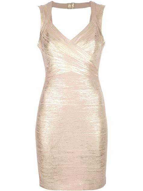 Premium Herve Leger Vneck Metallic Con Bandage 1 herv 233 l 233 ger square back dress in metallic lyst