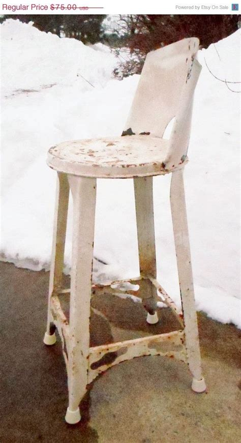 vintage factory industrial stool chair counter white