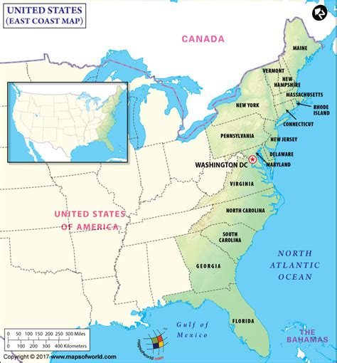 east coast in usa map east coast map map of east coast east coast states usa