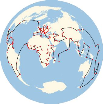 find the shortest route through the world's capitals: new