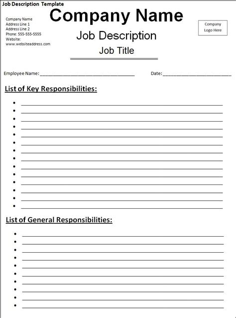 job description template free printable word templates