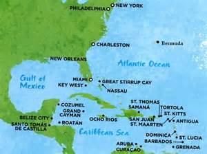 map of eastern us and caribbean map of cruise destinations in the caribbean