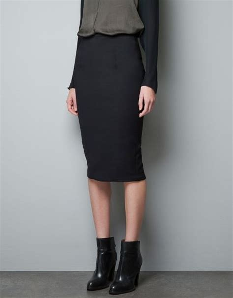 zara high waist pencil skirt in black lyst