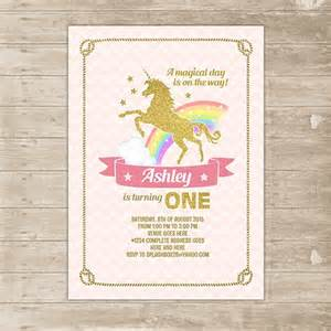 unicorn pink gold invitation rainbow invite glitter