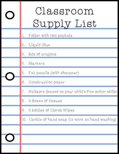 school supply list template special education hop week 3 back to school forms