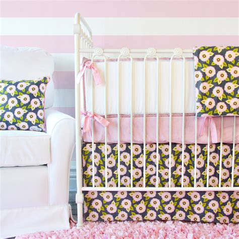 Pink And Gray Nursery Bedding Sets White Pique With Light Pink Piping Crib Bumper By Caden