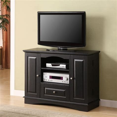 black wood storage 42 quot black wood tv stand with dvd storage tvstand com