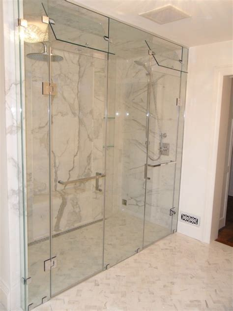 Bath And Shower Doors custom inline double shower door with steam vent modern
